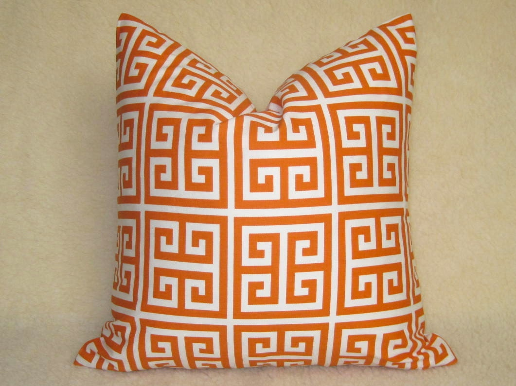 Designer Decorative Greek Key Pillow - Squares - Orange and White - 18 inch - BOTH SIDES - Decorative Pillow - Throw Pillow - Orange Pillow