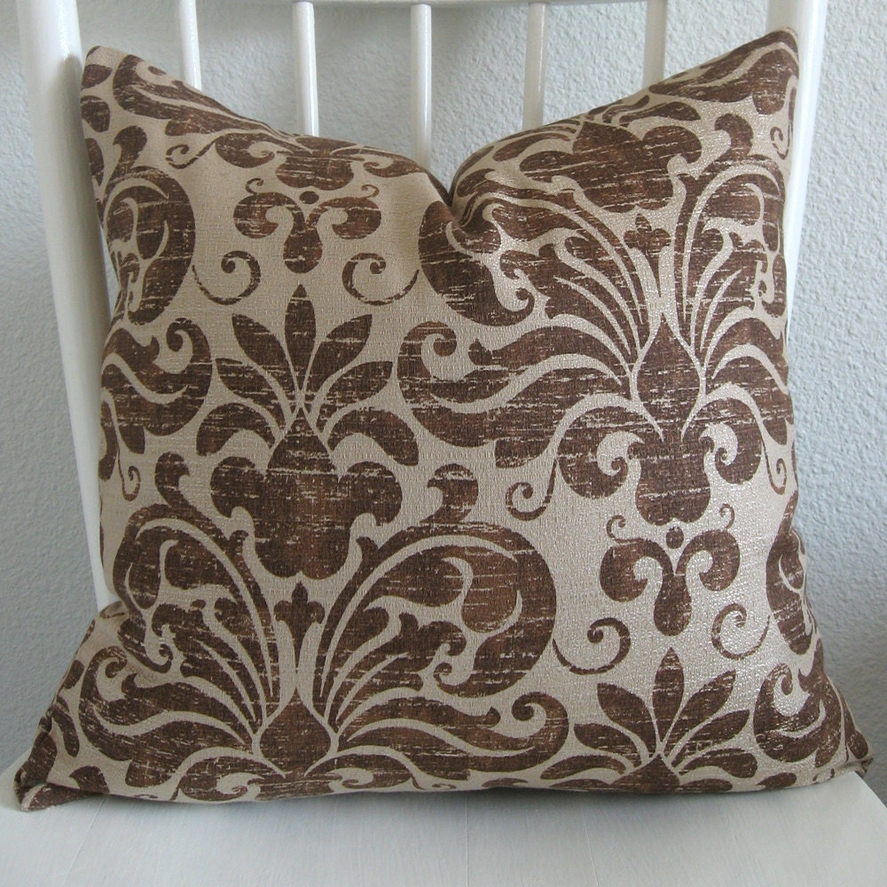 ONE new 18x18 beige brown damask pillow cover by chicdecorpillows