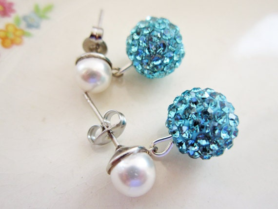 Rhinestone and Pearl Earrings, Aqua Blue Earrings, Crystal Earrings, Swarovski Post Earrings, Bridal Wedding Jewelry
