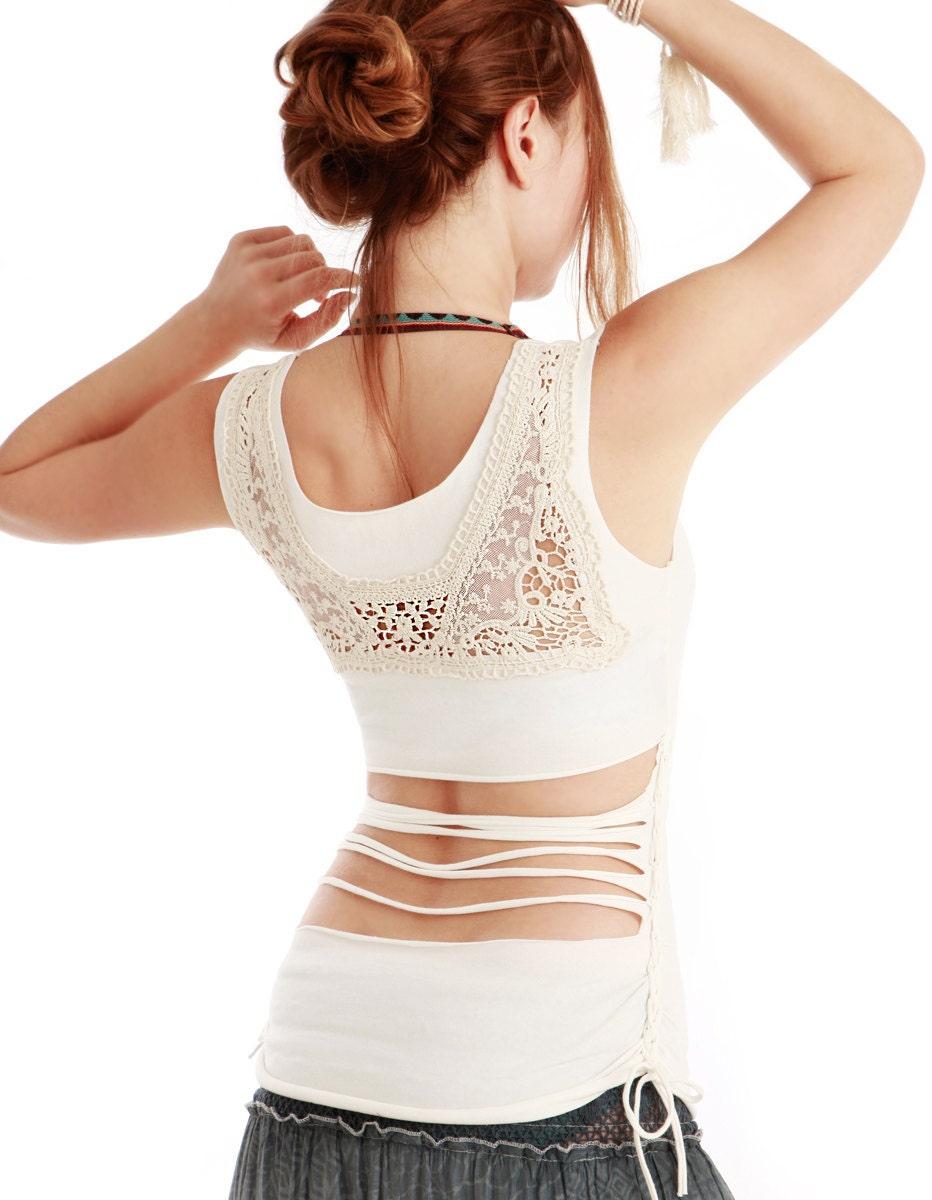 Белый топ с женщинами верхней части спины вязание крючком / кружева подробнее