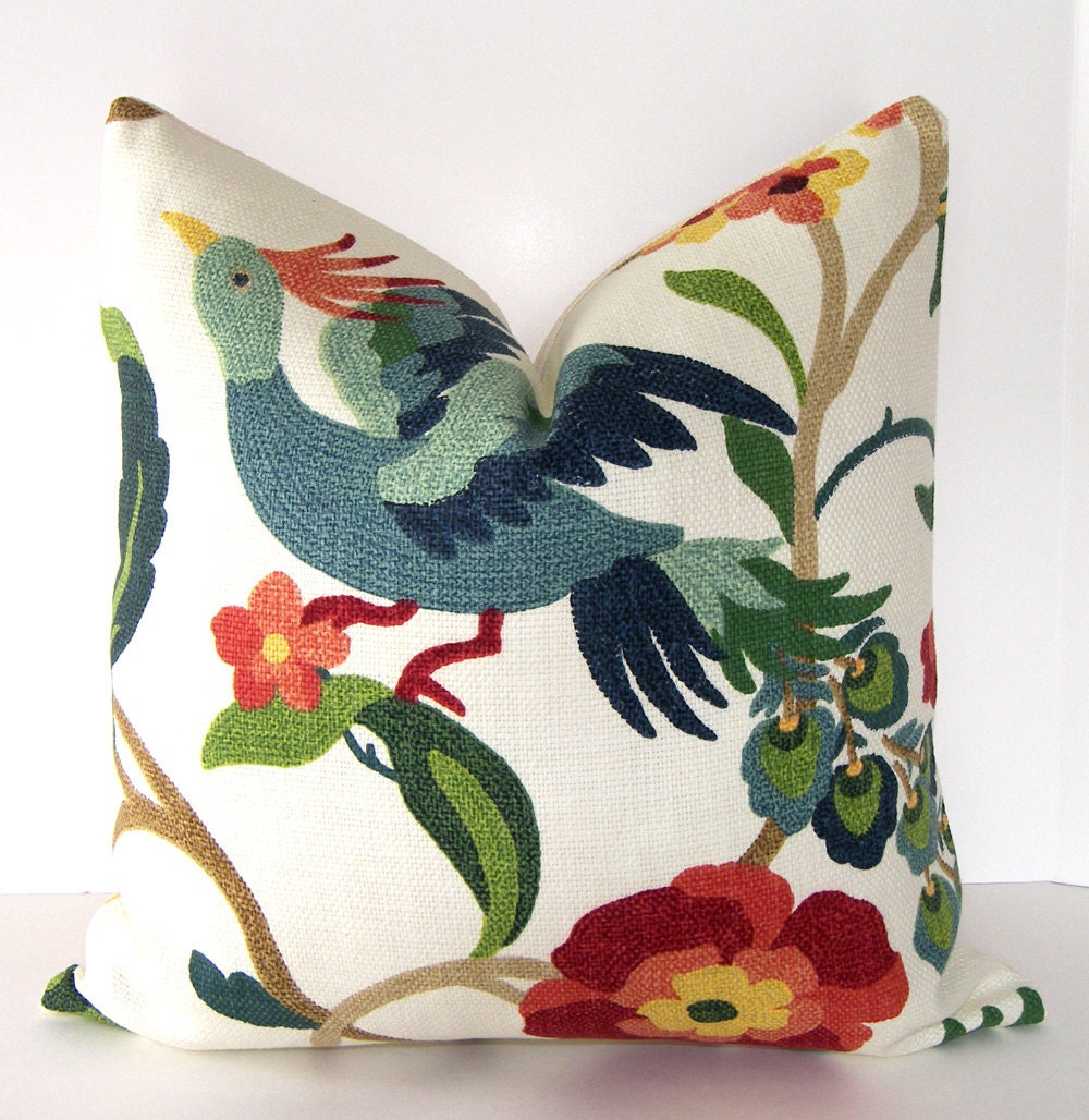 Decorative Bird Pillow Cover 18x18 inch - Designer Fabric - Accent pillow - Throw Pillow