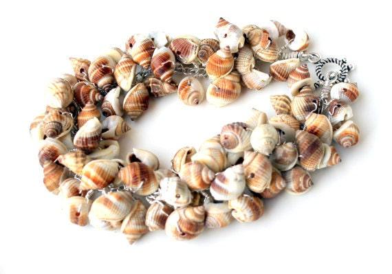 seashell bracelet. wire wrapped Nutmeg seashells.mermaid clasp. nautical bracelet tan beachy nautical eco jewelry uniquenecks bracelet - UniqueNecks