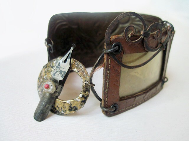 Anastasia. Rustic Gypsy Victorian Tribal Leather Frame Cuff with Tin.
