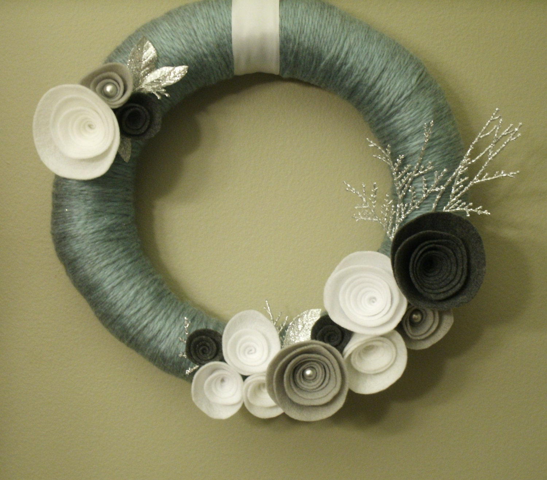 Serene Winter Wool Yarn Wreath