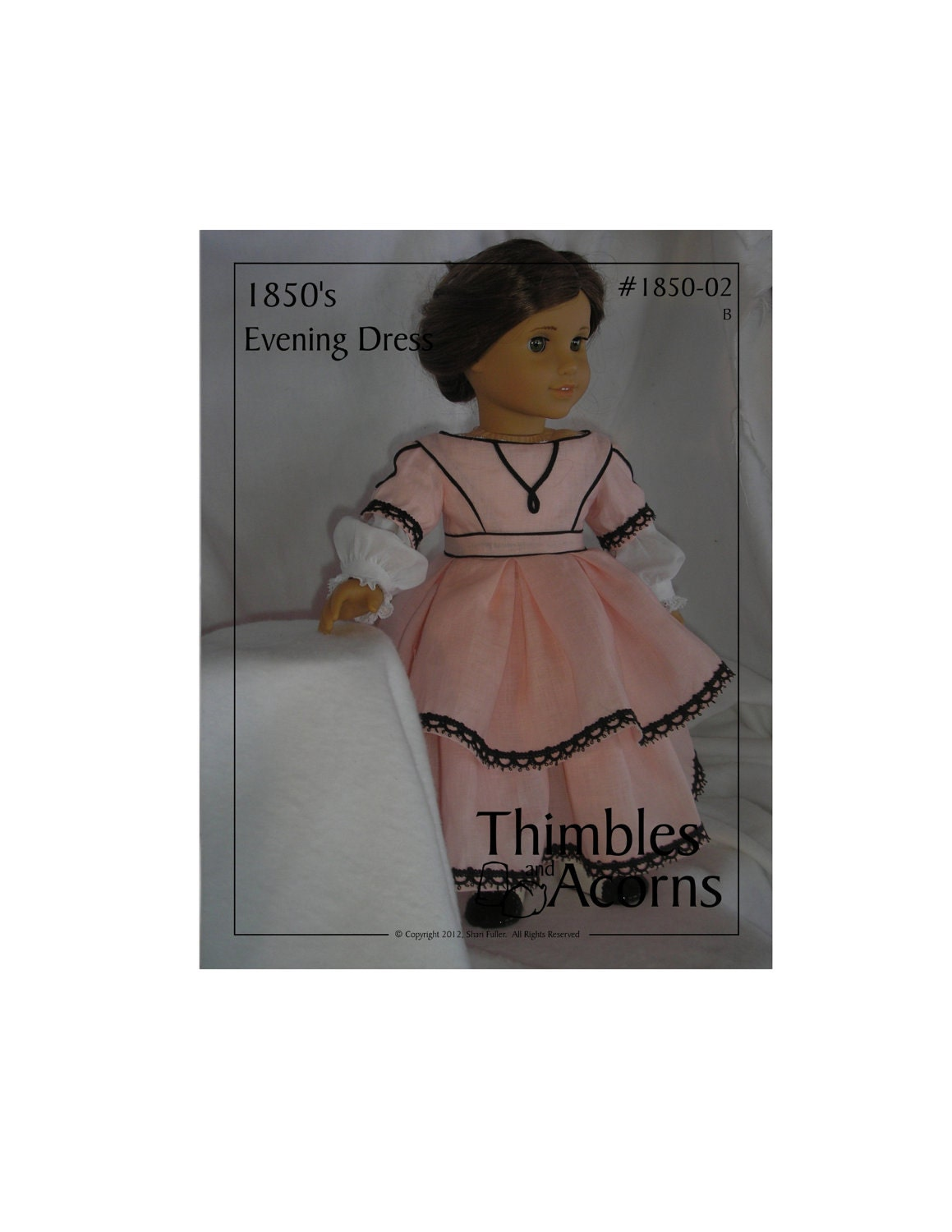 PDF Pattern for 1850 Evening Dress with Tiered Skirt  for 18 inch American Girl Doll
