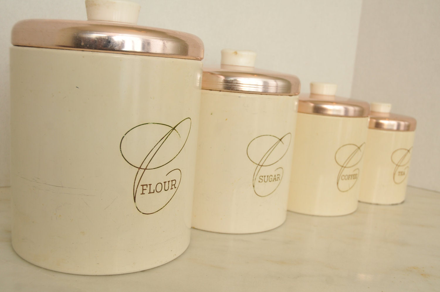 vintage cream and pink kitchen canister set 4 by whitepicket