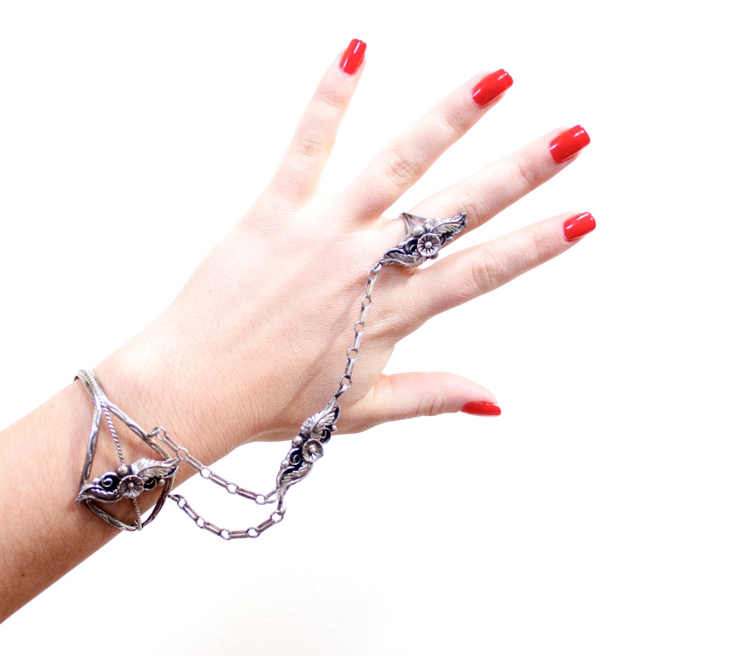 Connected Ring Bracelet Set