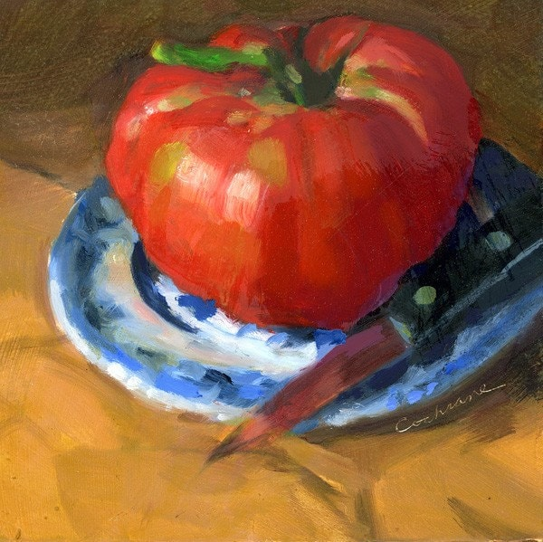 Heirloom Tomato with Knife original oil painting