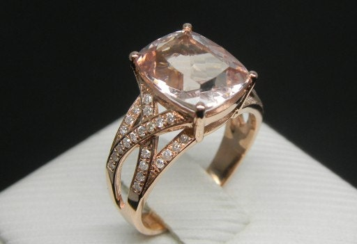 Items similar to Engagement Ring 3 Carat Morganite Ring With Diamonds In 14