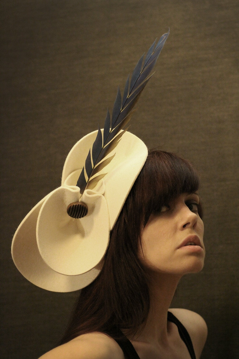 Large Cream Felt Hat with Shaped Parrot Feather and Vintage Button - Bird of Paradise Series