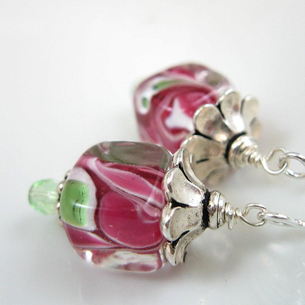 Pink Swirl Lampwork Cube Bead Earrings