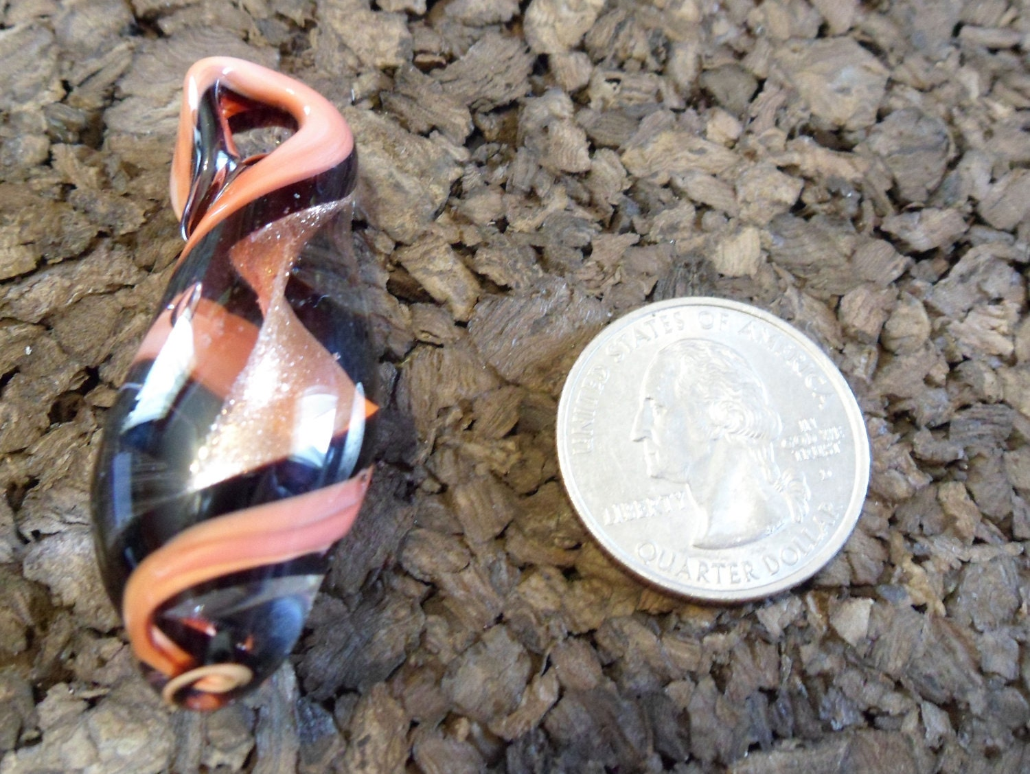 Salmon and Black Goldstone Ribbon Twist Glass Pendant