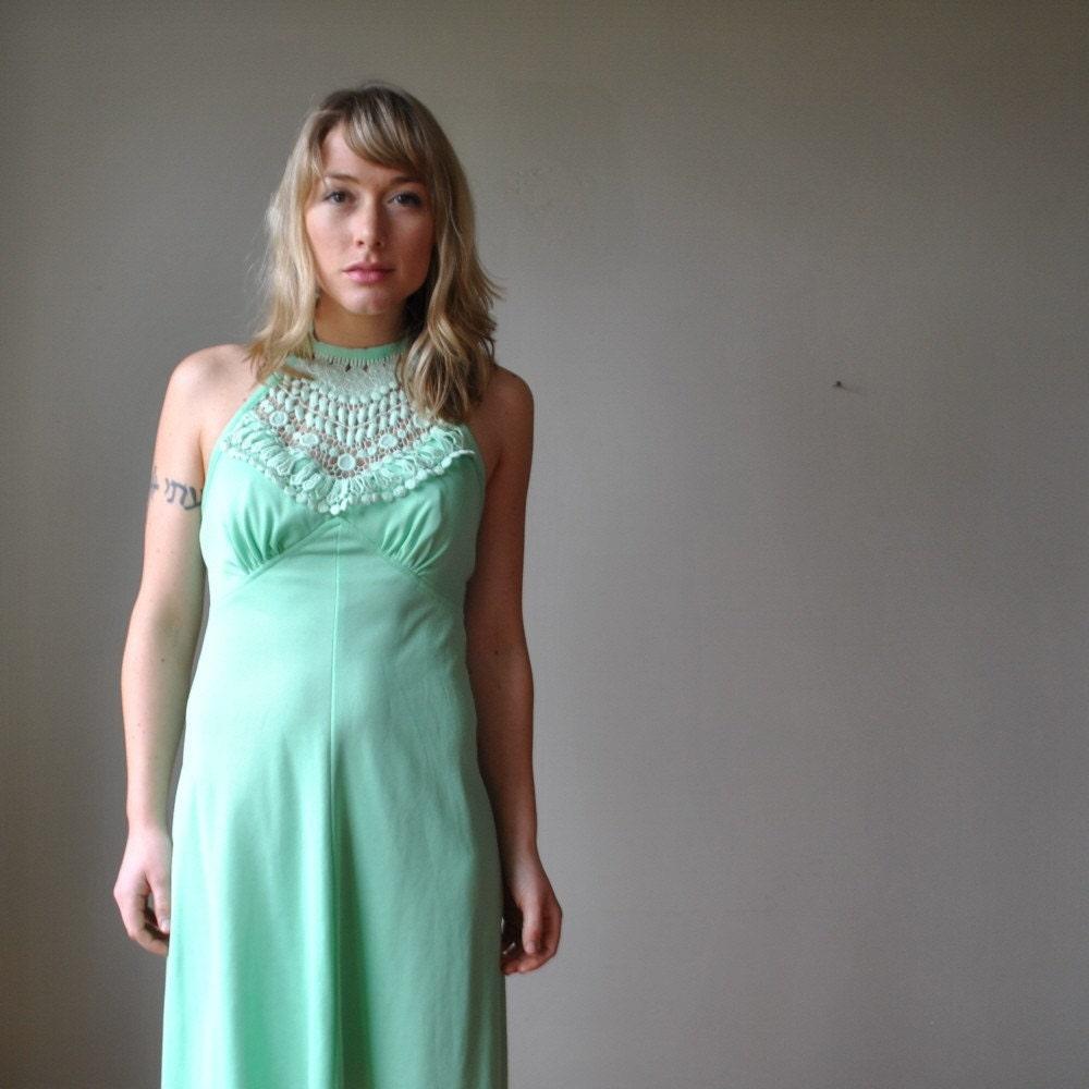 Lime green halter dress