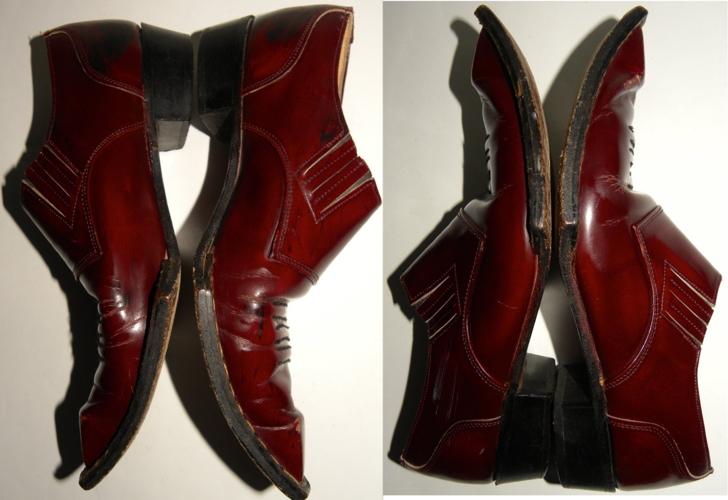 Vintage George Cox Swordfish shoes FLUEVOG booties western OXBLOOD 1980s men 7 women 8.5 - 9