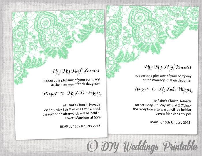 Items similar to Plantilla de invitación de boda DIY ...