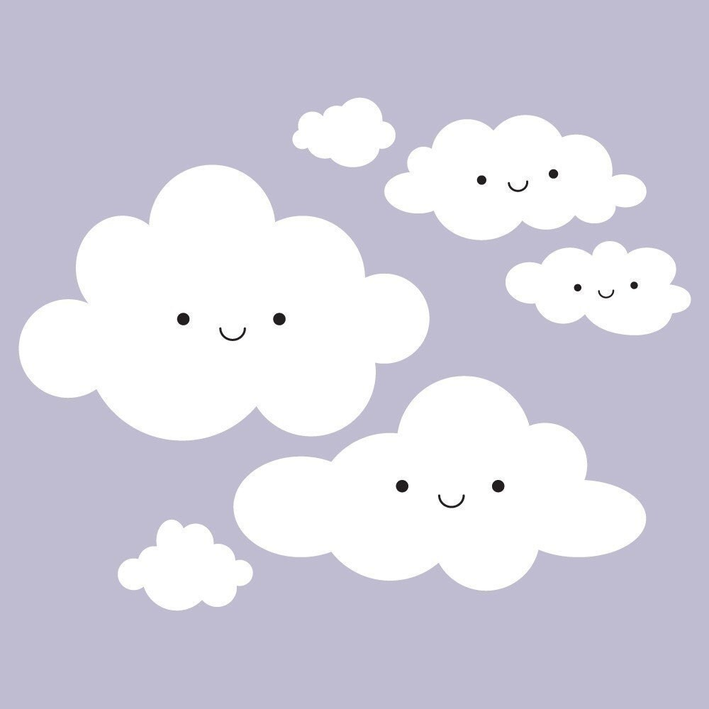 Happy Clouds Vinyl Wall Art Decal Wall Stickers