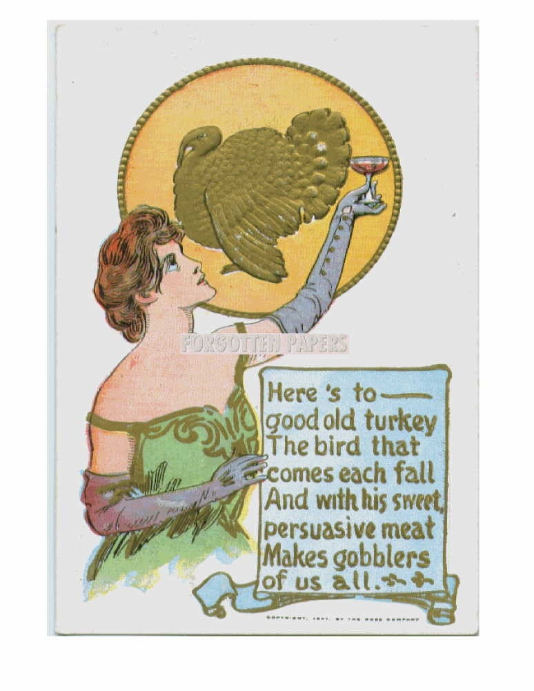 A Toast to The Turkey - Great Old 1907 Vintage Postcard