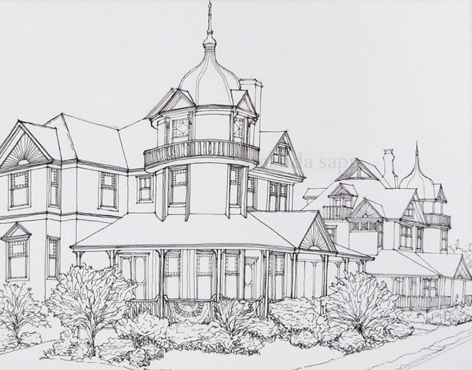 Ink drawing beach haven long beach island victorian by for Beach house drawing