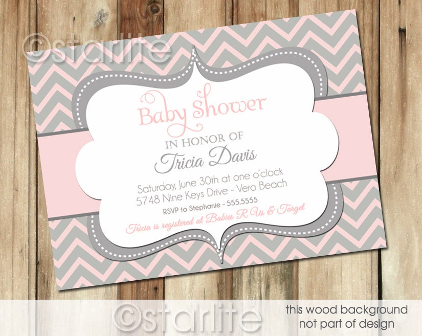 chevron pink and gray grey baby shower invitation baby girl