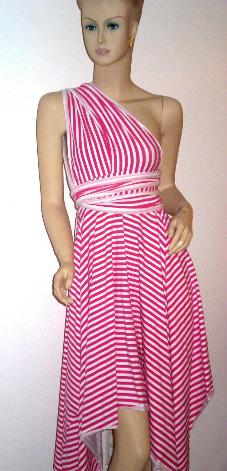 Pink and White Striped Summer dress to be worn several ways