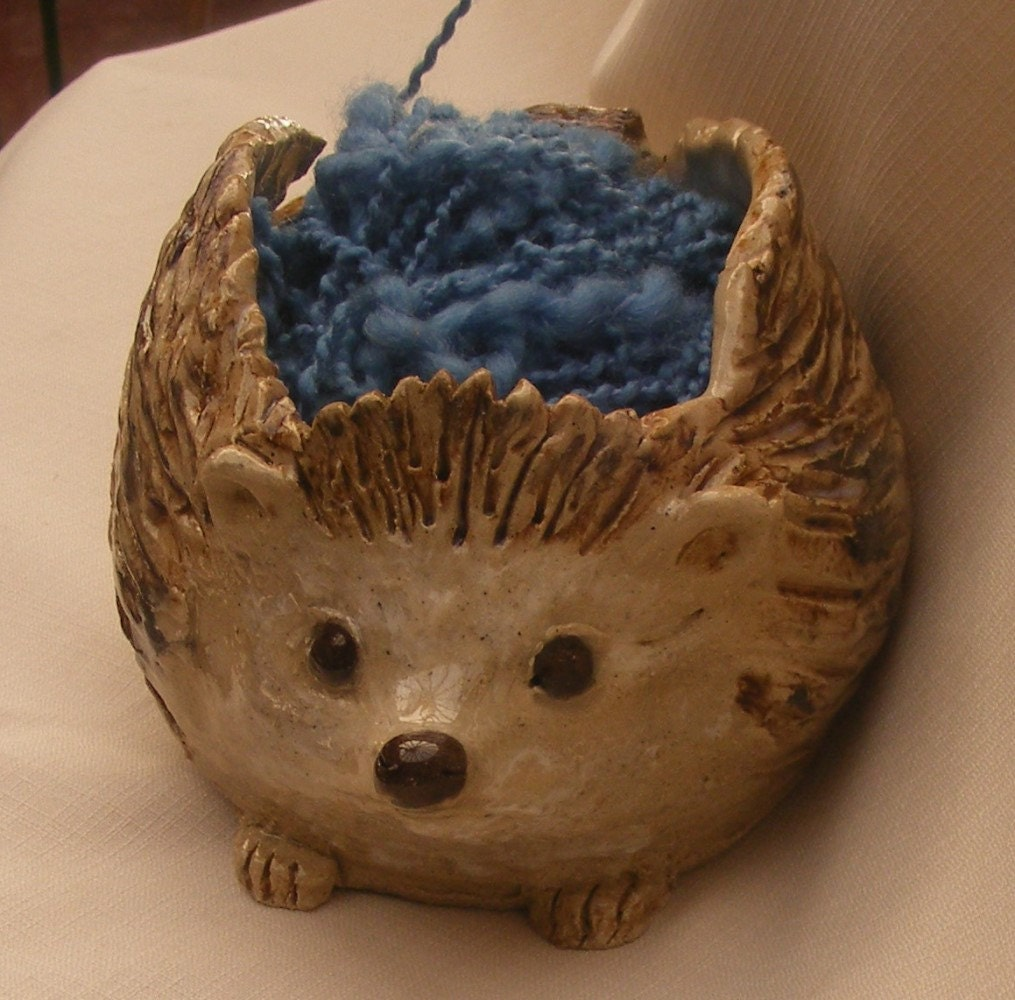 Knitting Bowl Nose : Stoneware yarn bowl big sculpted hedgehog by ornaartheart