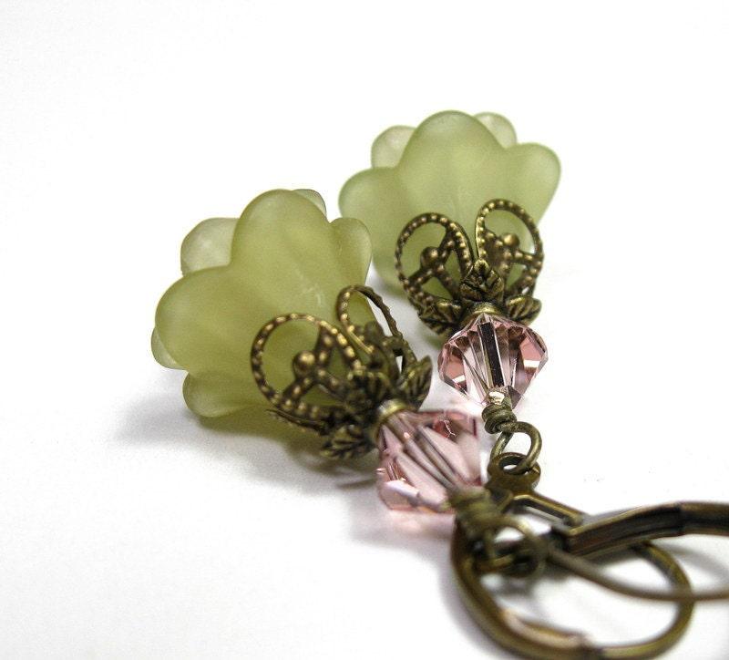 Vintage Rose Swarovski Crystal, Olive Green Lucite Flower Earrings