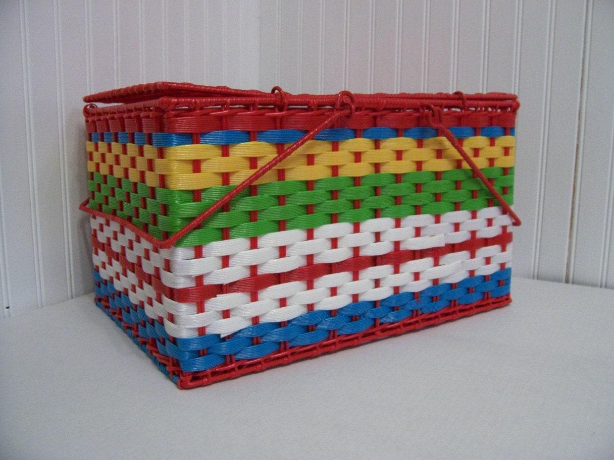 Vintage Woven Plastic Picnic Basket