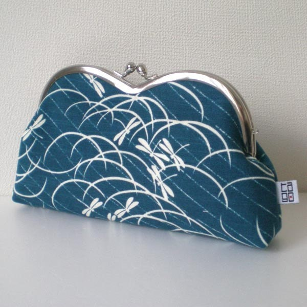 Japanese Kimono Framed Heart Pouch, Quilted, Dragonfly in Blue