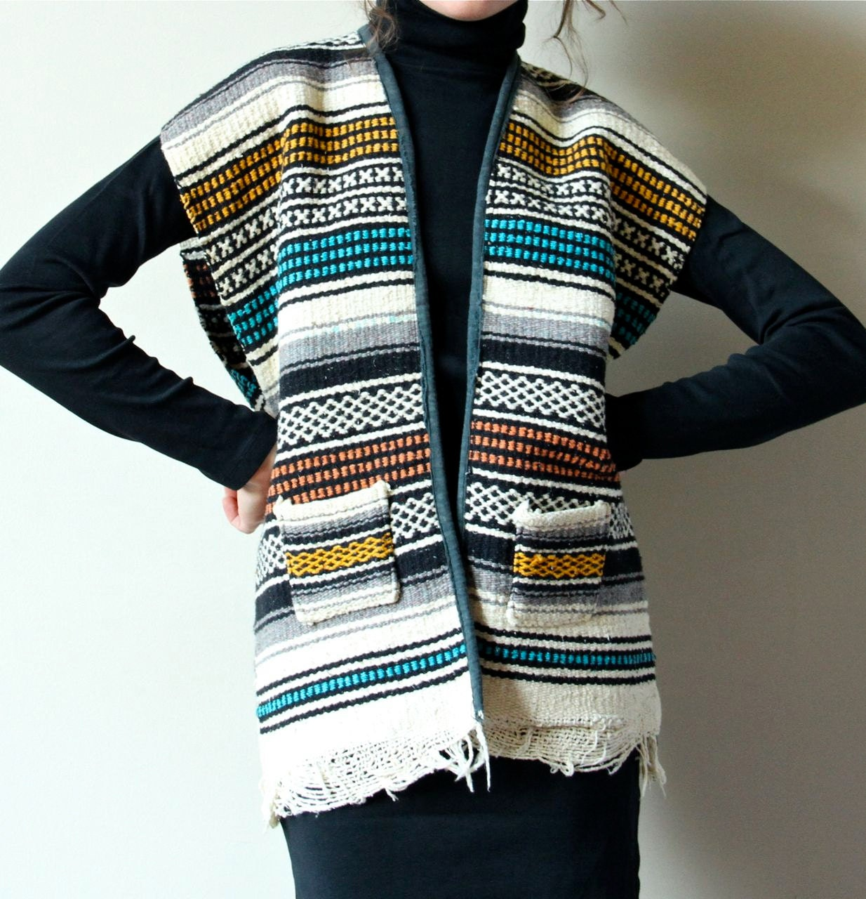 Striped Mexican Rug Vest 70s Fringed Western By