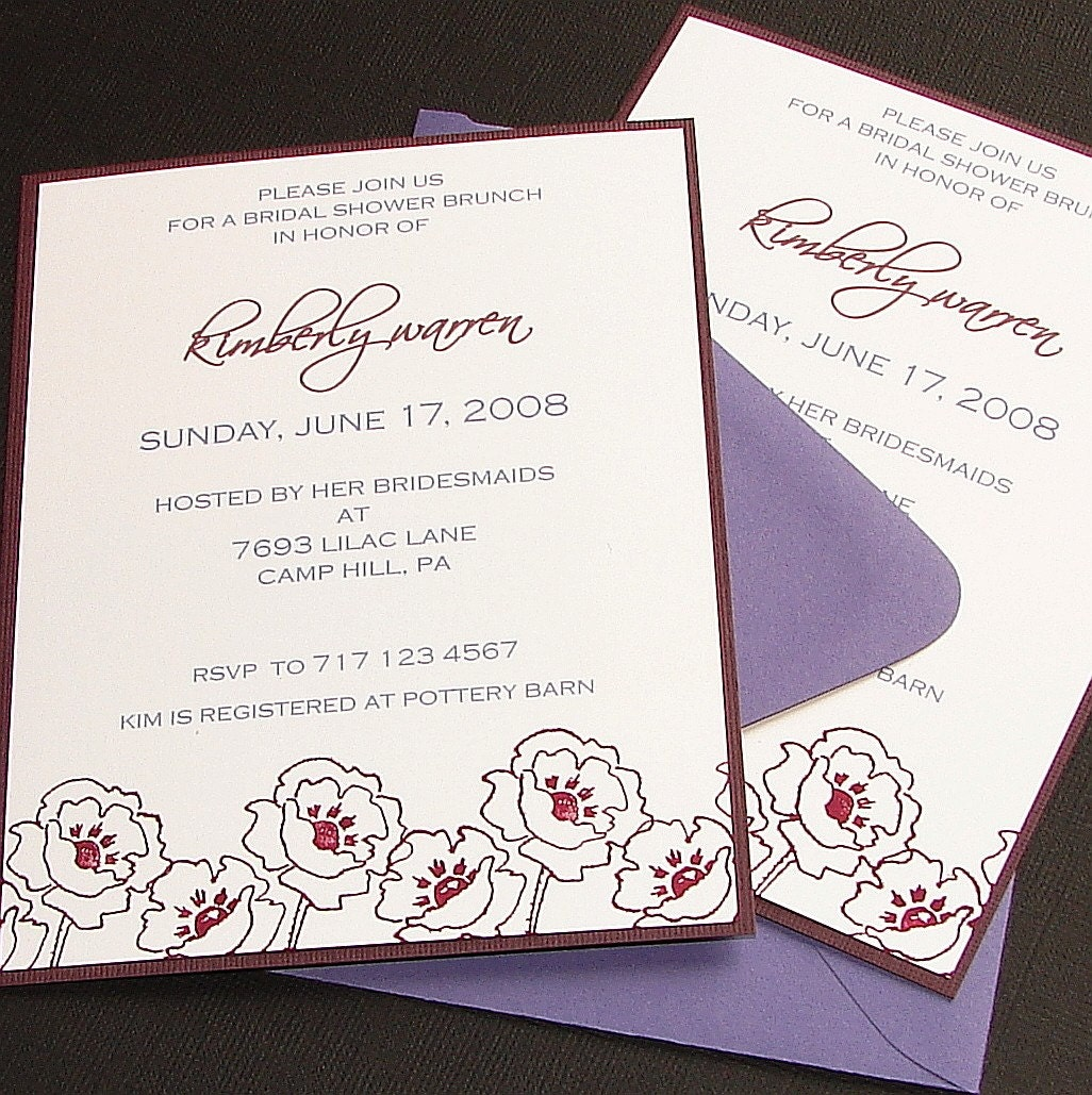 Plum Poppy Invitations - Set (12)