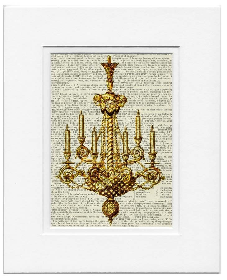 vintage chandelier III -  printed on page from old dictionary