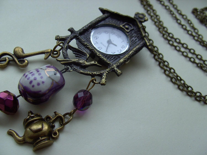Cuckoo clock vintage style bronze owl purple key by newellsjewels - Funky cuckoo clock ...