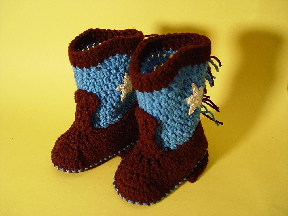 Handmade Crochet Baby Booties Western Cowboy Boots Dark Brown and Bimini Blue with Beige Stars