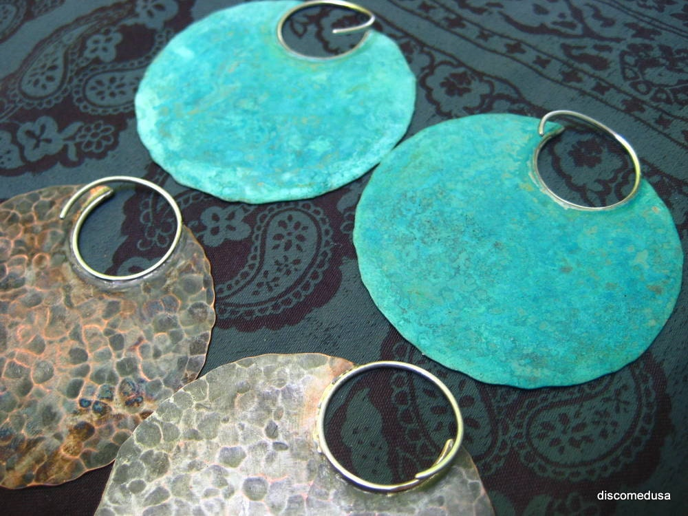 Instant Collection-  2 pairs of extra large blade tribal hoop earrings (verdigris & copper) FREE domestic shipping - discomedusa