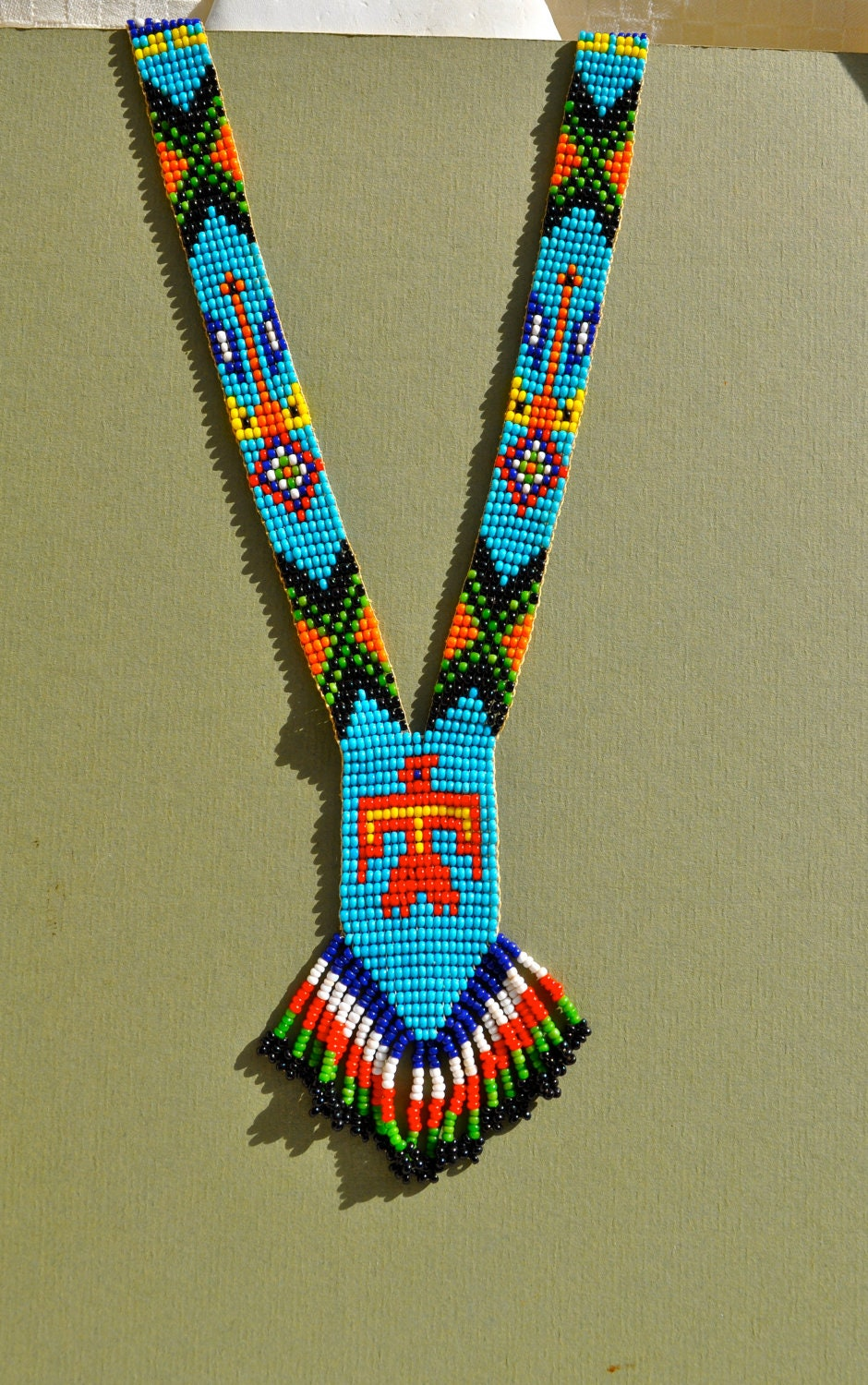 Vintage Native American Bead Necklace With Fringe By