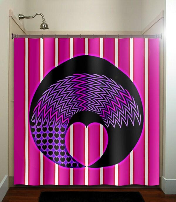 Girly Girl Pink Purple Love Heart Chevron Shower Curtain