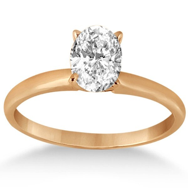 Oval Diamond Engagement Ring 14k Rose Gold Mounting by Allurez