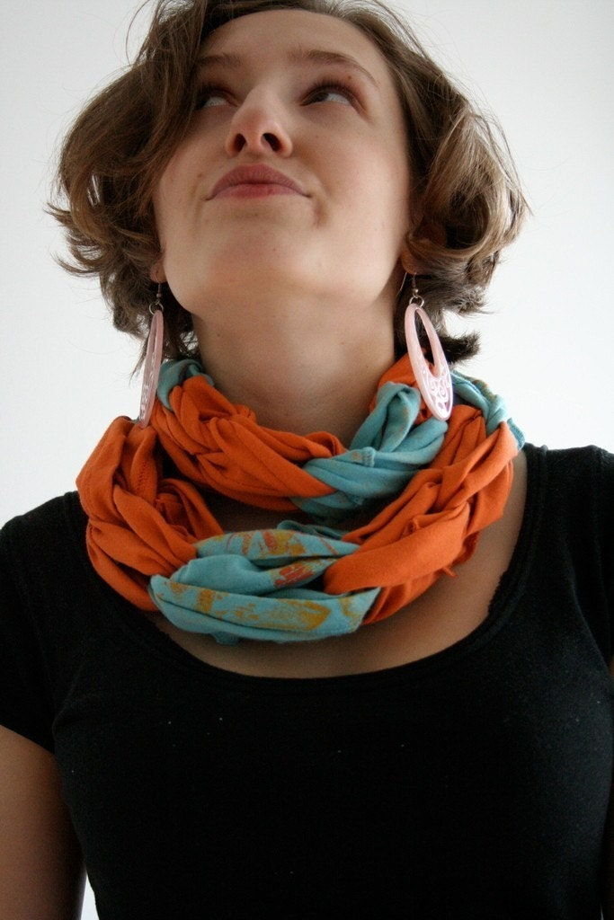 Eco-Friendly Recycled T-shirt Scarf- In a Knot- CUSTOM ORDER