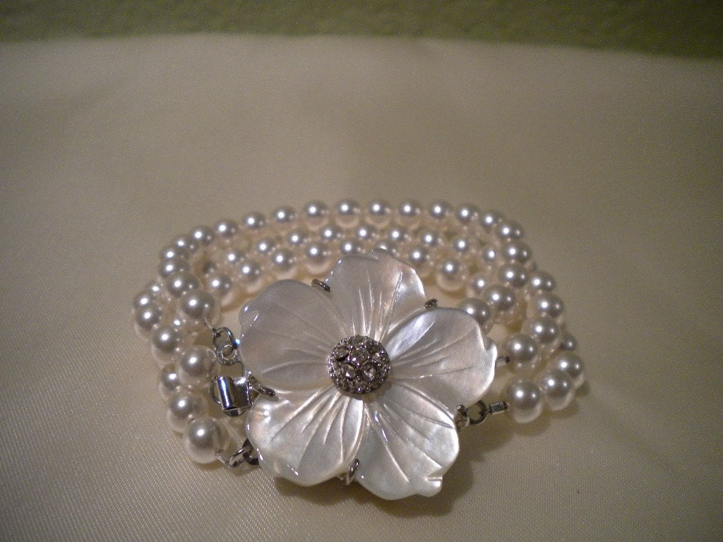 DAPHNE Bridal Mother of Pearl Flower Triple Strand Swarovski Pearl Bracelet
