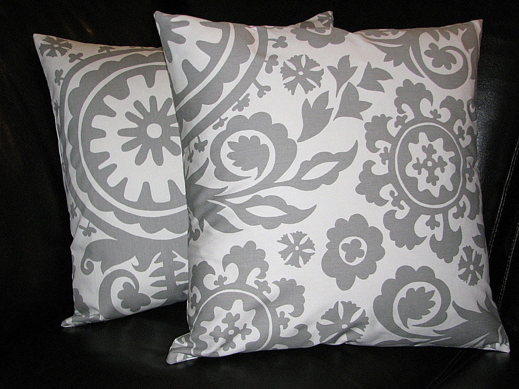 items similar to throw pillows 18 grey on white suzani 18x18 inch pillows set of two storm gray. Black Bedroom Furniture Sets. Home Design Ideas