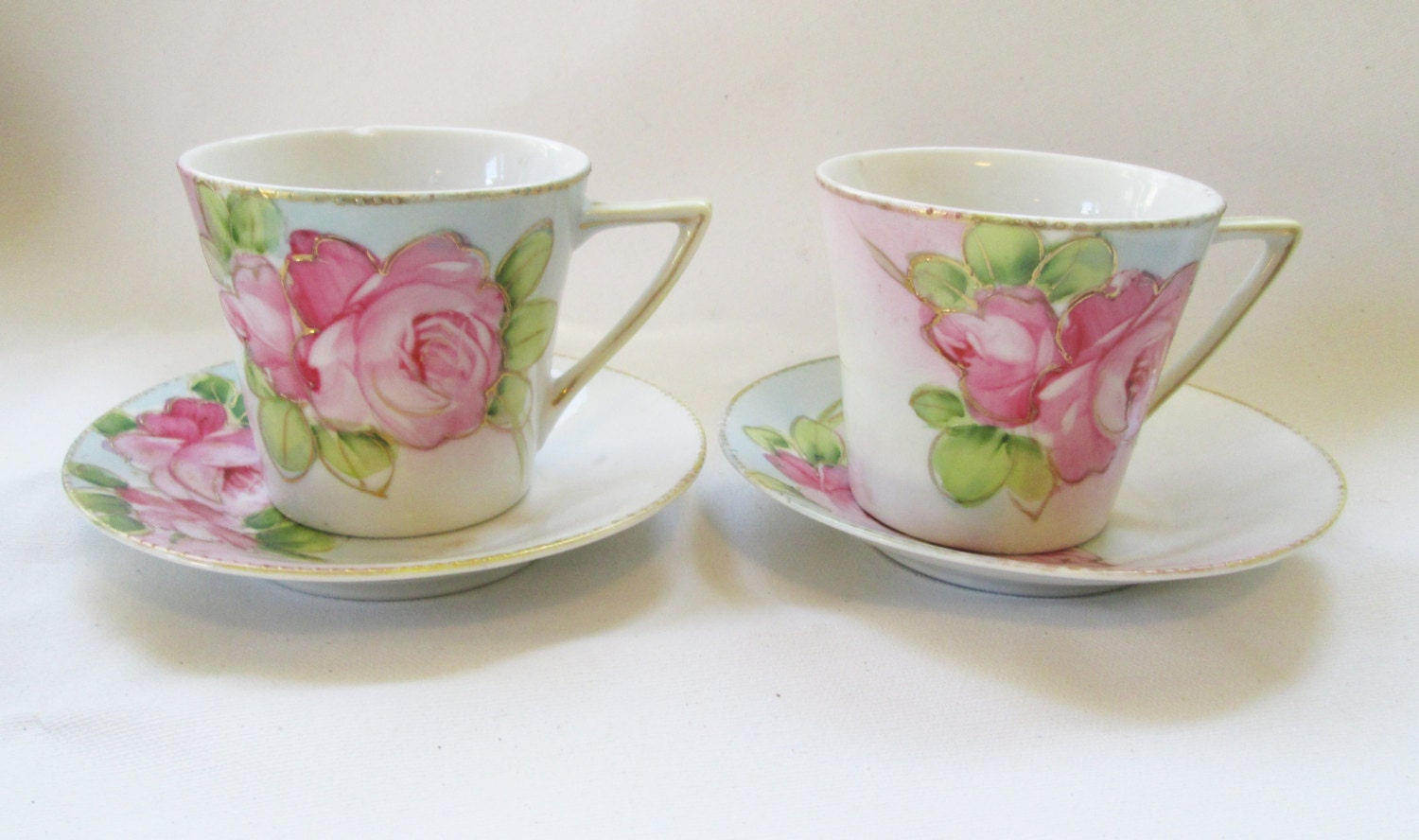 Reserved Vintage Nippon Hand Painted Tea Cups And Saucer Cabbage Rose