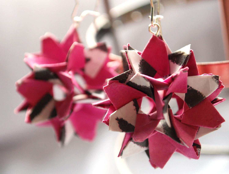 Origami Earrings Dangle Earrings Modern Earrings Paper Earrings - pink, blak and white - aboutCRAFTS