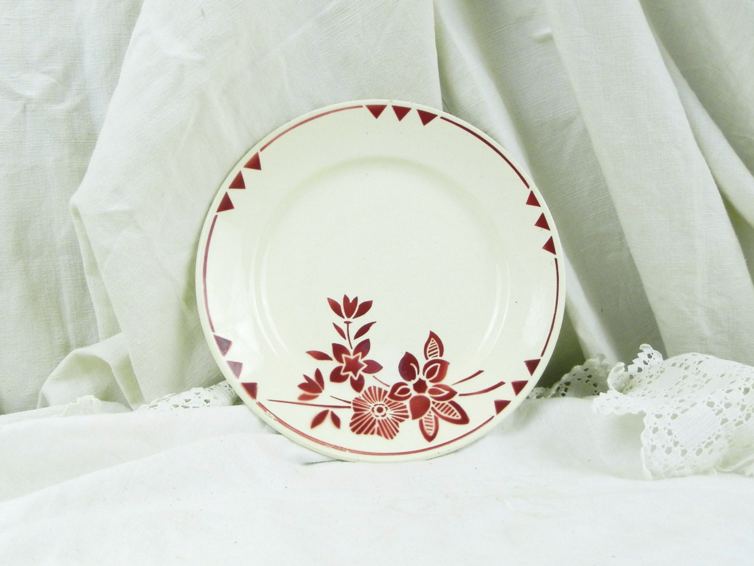 Vintage French Flower Motif Ceramic Plate By