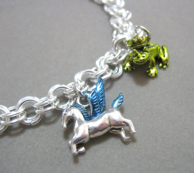 Inked Charm Bracelet Sterling Silver Plated Chainmaille and Charms