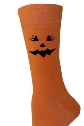 Ladies HALLOWEEN orange socks tgirly cute pumpkin face design with eyelashes