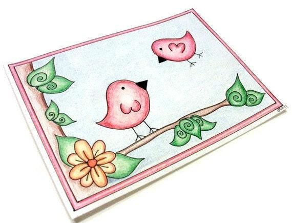 """Original Drawing, Pink Birds, 5"""" x 7"""""""