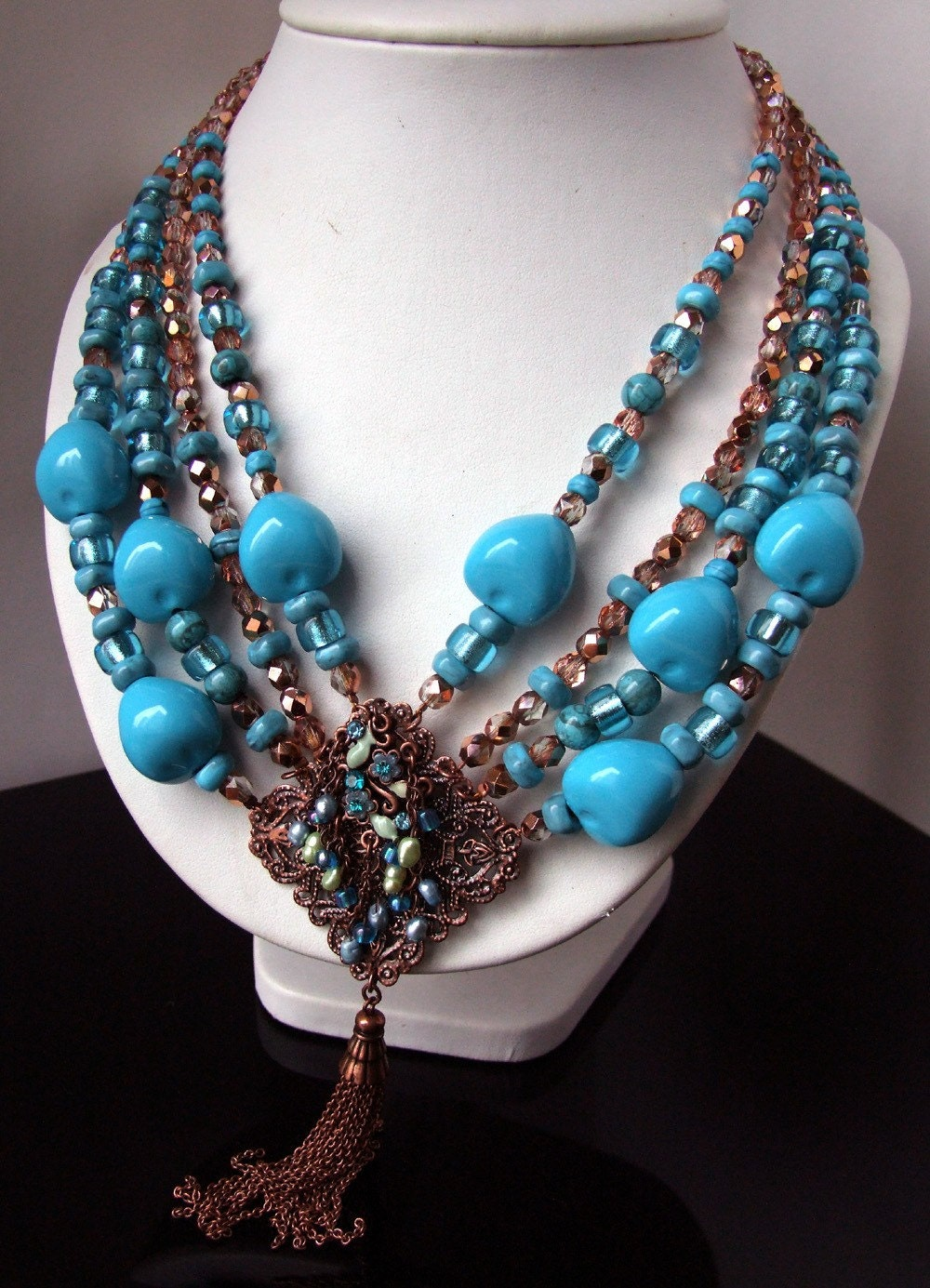 Turcq Odalisque - one of a kind necklace in turquoise and copper colors