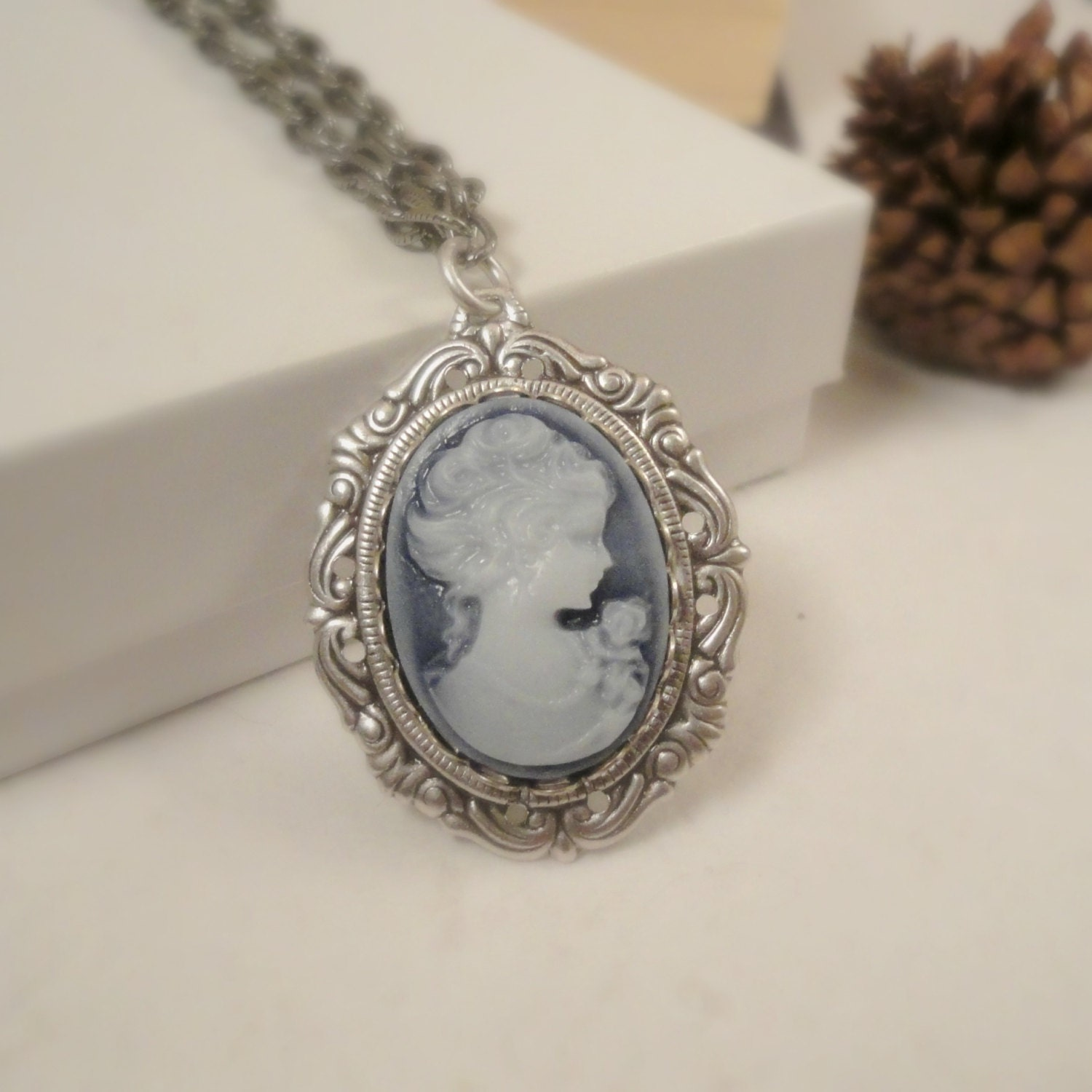 Blue Gray Cameo Necklace Vintage Long Chain Necklace Indigo Blue Gifts for Mom / Under 40 / Cameo Jewelry - pink80sgirl