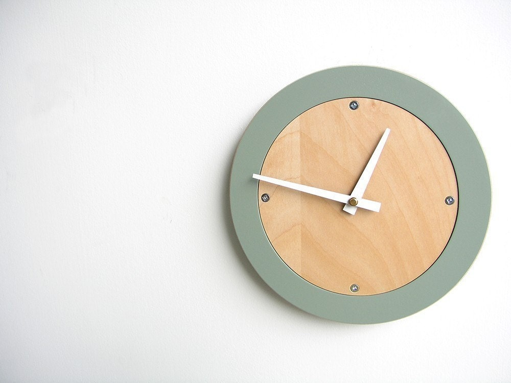 pale grey modern wall clock