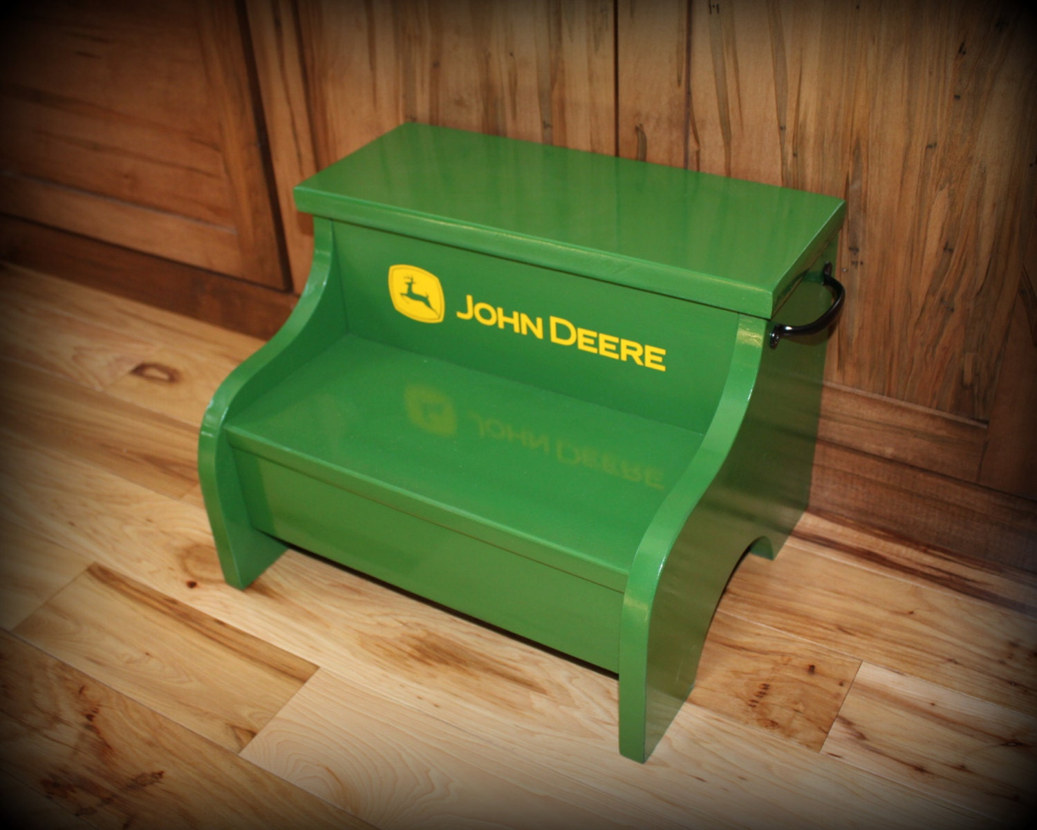 Childs Wood Step Stool John Deere Green By Clemswshop On Etsy